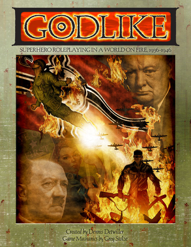 Godlike superhero roleplaying game in PDF and paperback